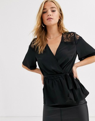 Lipsy lace shoulder wrap front top in black