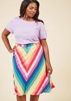 MCB1150 Your love of bold colors and classic silhouettes are no secret - especially when proudly displayed by this striped skirt from our ModCloth namesake label! A chevron rainbow and side pockets lend brilliance to the soft, draped fabric of this A-line stunner