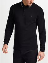 Fred Perry Long Sleeve Twin Tipped Polo Shirt, Black