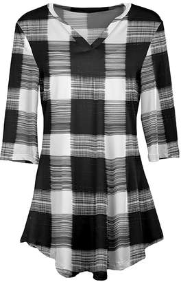 Lily Women's Tunics BLK - Black & White Plaid Curved-Hem Tunic - Women & Plus
