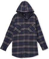 Burnside Navy Flannel Button-Up Hoodie - Boys