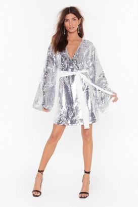 Nasty Gal Womens Disco's to Show Sequin Batwing Dress - Silver
