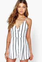 boohoo Cora Wide Stripe Wrap Front Playsuit white