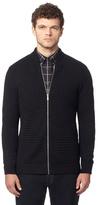 Ben Sherman Black Wool Textured Zip-through Cardigan