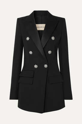 Alexandre Vauthier Crystal-embellished Double-breasted Grain De Poudre Wool Blazer - Black