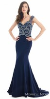 Morrell Maxie Illusion Jersey Beaded Evening Dress