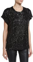 Saint Laurent Sequined Loose-Fit Tee, Black