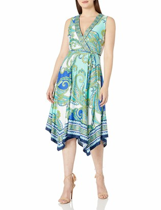 Sandra Darren Women's 1 Pc Sleeveless Faux Wrap Uneven Hem Ity Dress