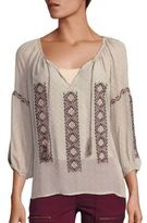 Joie Wavebreak Cotton Embroidered Peasant Blouse