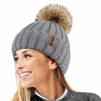 TOSKATOK Womens Winter Rib Knitted Hat/Beanie with Detachable Chunky Faux Fur Bobble Pom Pom - Available in 5 Colours Grey