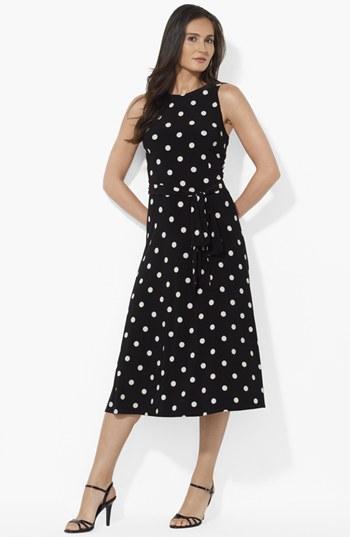 Lauren Ralph Lauren Polka Dot Matte Jersey Dress