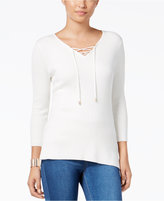Thalia Sodi High-Low Lace-Up Sweater, Only at Macy's