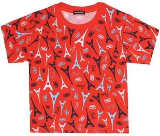 Balenciaga Kids Paris print cotton T-shirt