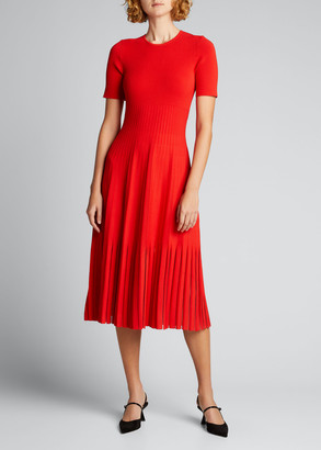 Jason Wu Collection Knit Sheer Godet Midi Dress
