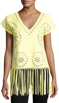 Alberto Makali Fringed-Hem Faux-Suede Top, Yellow