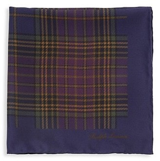 Ralph Lauren Purple Label Plaid Silk Pocket Square