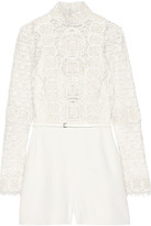 Elie Saab Embellished Cotton-blend Guipure Lace And Crepe Playsuit - Ivory