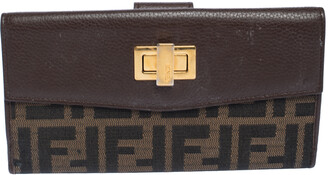 Fendi Brown Zucca Canvas and Leather Continental Wallet