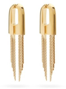 Givenchy Graphic Chain-tassel Earrings - Gold