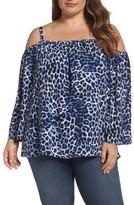 Vince Camuto Plus Size Women's Leopard Song Cold Shoulder Blouse