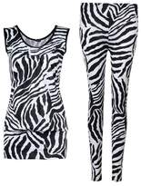 GirlsWalk Girls Walk Womens Sleeveless Zebra Print Top Leggings 2 Piece Set