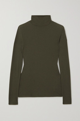 Ninety Percent + Net Sustain Kaye Ribbed Organic Cotton-jersey Turtleneck Top - Green