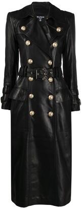 Balmain long black leather trench coat