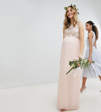 TFNC Maternity Maternity Maxi Bridesmaid Dress With Soft Floral Sequin Top