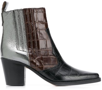 Ganni contrast ankle boots