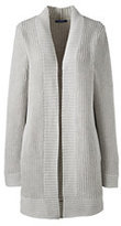 Lands' End Women's Petite Long Shaker Cardigan Sweater-Ice Gray Heather