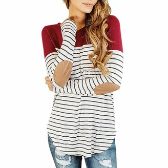 Arestory Women's Maternity Tops Clothing Ladies Mom Pregnant T-Shirt Long Sleeve Striped Pregnancy Wrap Blouse Nursing Breastfeeding Baby Pullover Ladies Mom Pregnant Nightwear Irregular Stretchy Outwear Red