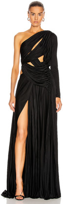 Redemption Long Dress Asymmetrical Gown in Black | FWRD