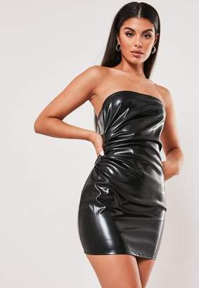 Missguided Petite Black Faux Leather Strapless Mini Dress