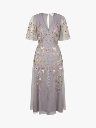 Monsoon Natalia Tea Floral Embroidered Maxi Dress, Light Grey