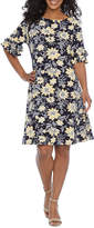 Ronni Nicole Petite Short Tiered Sleeve Floral Puff Print Shift Dress