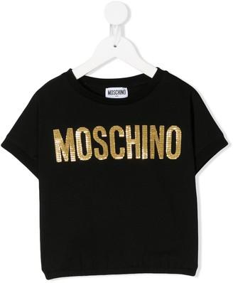 MOSCHINO BAMBINO metallic logo print T-shirt