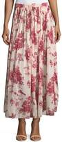 Giada Forte Liberty Floral-Print Gathered A-Line Voile Long Skirt