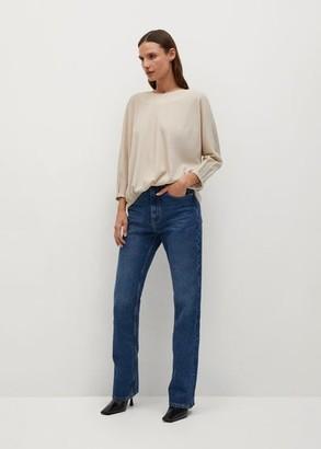 MANGO Shiny texture T-shirt beige - XS - Women