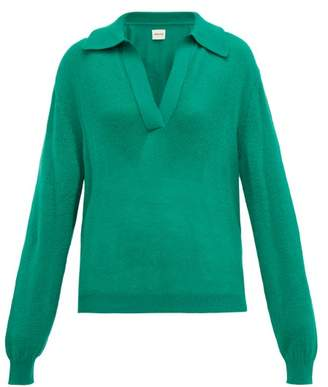 KHAITE Jo Collared Cashmere Blend Sweater - Womens - Green