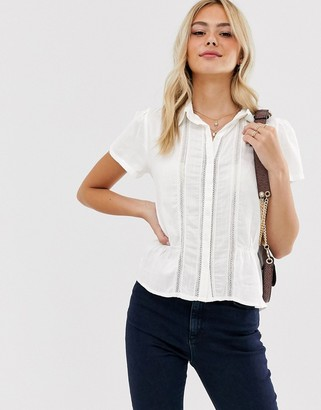 Pimkie short sleeved button front blouse in white