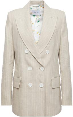 Racil Casablanca Double-breasted Pinstriped Linen Blazer