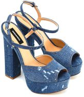 DSQUARED2 Worn Effect Denim Sandals