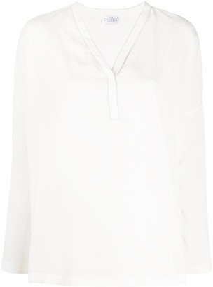 Brunello Cucinelli V-neck long sleeve blouse