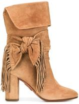 Aquazzura 'Fringe Tie' boots - women - Calf Leather/Goat Fur/Kid Leather - 38