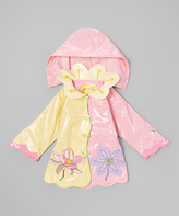 Kidorable Pale Yellow & Pink Lotus Raincoat - Infant Toddler & Girls