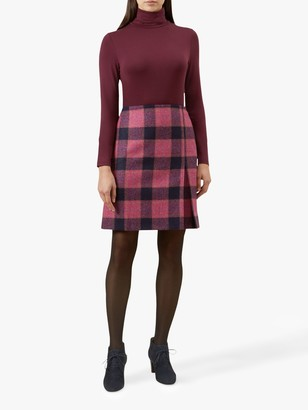 Hobbs Avery Pleat Wool Skirt, Pink/Multi