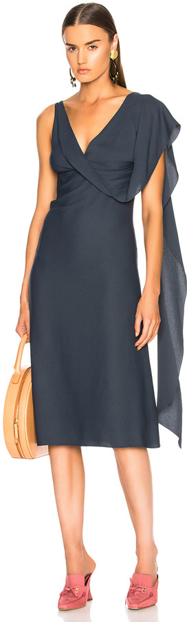 Sies Marjan Etta Marocain Drape Front Dress in Graphite | FWRD