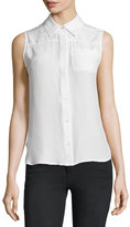 Frame Sleeveless Button-Front Top, Blanc