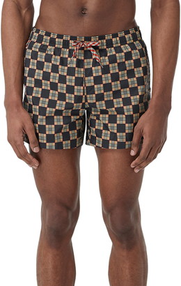 Burberry Greenford Checkerboard Swim Trunks