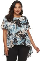 JLO by Jennifer Lopez Plus Size Abstract Handkerchief Top